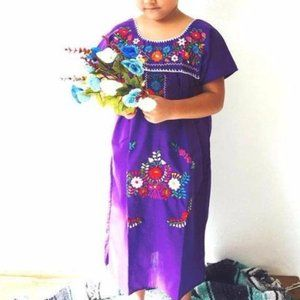 Mexican Dress for Girls Purple Size 10